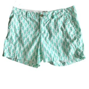 Old Navy Turquoise Seahorse Print Twill Shorts 10